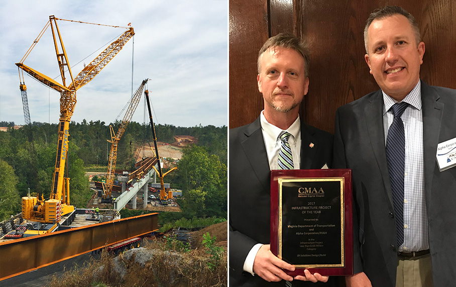 Alpha Wins 2017 CMAA NCC Infrastructure Project of the Year Award with Virginia Department of Transportation and RS&H