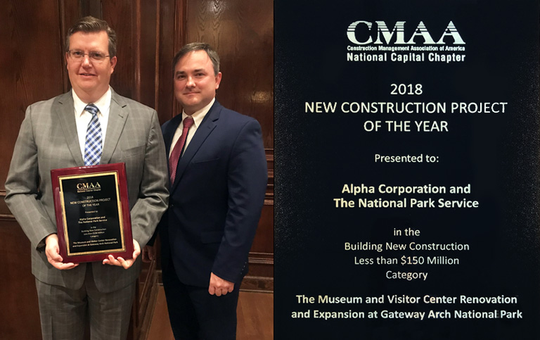 Alpha and NPS Receive CMAA NCC Project Achievement Award for Gateway Arch National Park Museum and Visitor Center